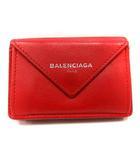バレンシアガ BALENCIAGA 財布 三つ折り Wホック ペーパーミニウォレット 391446 赤 /YI27