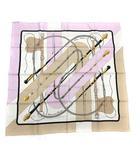 エルメス HERMES スカーフ カレ90 Clic Clouc シルク アイボリー ラベンダー 紫 /KH