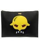 ステラマッカートニー STELLA McCARTNEY バッグ クラッチ セカンド レザー スーパーヒーローズ 黒 黄色 /YI41