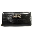 ヴィヴィアンウエストウッド Vivienne Westwood 長財布 ラウンドファスナー レザー クロコ型押し オーブ 黒 /YI24