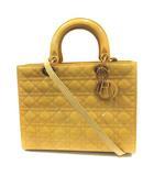 クリスチャンディオール Christian Dior レディディオール ハンドバッグ ショルダー 2way エナメル カナージュ 黄色 /YI4