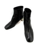 セリーヌ CELINE ブーティ ショートブーツ メタルヒール レザー 36.5 黒 ブラック /KH