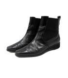 サルヴァトーレフェラガモ Salvatore Ferragamo ブーツ サイドゴア ショート レザー ローヒール 7.5 黒 /YI4