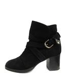 ツモリチサト TSUMORI CHISATO ブーツ ショート チャンキーヒール ギャザー スエード 1 ブラック 黒 /YO5