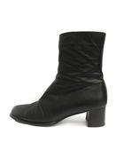 イヴサンローラン YVES SAINT LAURENT ブーツ ショート ハイヒール レザー 37 ブラック 黒 /YO4