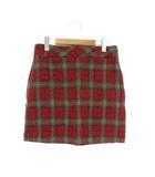 ビームスライツ BEAMS Lights ハリスツイード チェック台形スカート ミニ ウール 38 赤 ベージュ /ES ■OS