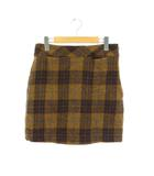 ビームスライツ BEAMS Lights ハリスツイード チェック台形スカート ミニ ウール 38 キャメル 茶 /ES ■OS