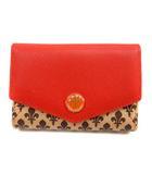 パトリック コックス PATRICK COX 財布 二つ折り コインケース 総柄 レザー ゴールド色 赤 レッド /SR