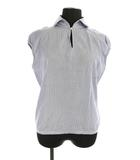 ミナペルホネン mina perhonen shirt 開襟ブラウス ストライプ 半袖 青 白 /YS ■OS