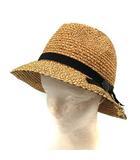 カシラ CA4LA 帽子 麦わら帽子 ストローハット リボン 茶 /YI3