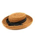 ヘレンカミンスキー HELEN KAMINSKI 帽子 ハット リボン ラフィア 茶色 ブラウン 黒 ブラック /SR