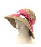 トッカ TOCCA 18SS 帽子 麦わら帽子 ストローハット リボン フラワーワッペン ベージュ ピンク /YI31