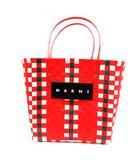 マルニ MARNI フラワーカフェ ピクニックバッグ かごバッグ ハンド ロゴ 赤 /YI29