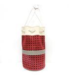 クロニクスバイデルフィン CHRONIQUES BY DELPHINE DELAFON 巾着バッグ バケツ型 ハンド レザー 総柄 白 ホワイト 赤 レッド /KX