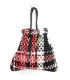 シャルマントサック charmant sac 巾着バッグ ハンド ツイード 赤 レッド 黒 ブラック 白 ホワイト マルチカラー /KX