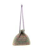 チェスティ Chesty charmant sac バッグ 巾着 ツイード ロゴ 緑 グリーン ピンク /SR