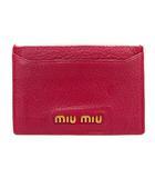 ミュウミュウ miumiu カードケース パスケース 名刺入れ ロゴ レザー 紫 パープル /SR ■OH