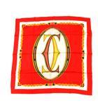 カルティエ Cartier カルティエ Cartier スカーフ シルク ロゴ 赤 /YI16 ■OH レディース