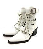 クロエ CHLOE RYLEE ブーツ ショート レザー ポインテッドトゥ チャンキーヒール ハイヒール レースアップ 37 24cm 白 /YI26