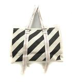 オフホワイト OFF WHITE バッグ トート ハンド キャンバス ストライプ 白 ホワイト 黒 ブラック /SR