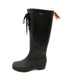 エーグル AIGLE 長靴 レインブーツ ロゴ ロング レースアップ 37 23.5cm 黒 ブラック /SR