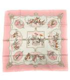 スカーフ 総柄 ムガル王朝の馬スカーフ LES CHEVAUX DES MOGHOLS シルク 絹 カレ90 白 ホワイト ピンク /SR ■OH