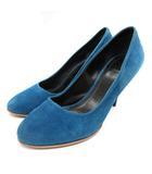 セリーヌ CELINE パンプス ピンヒール スエード 37 24cm 青 ブルー /SR ■OH