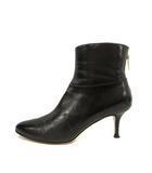ジミーチュウ JIMMY CHOO ブーツ ショート ピンヒール  レザー 36.5 23.5cm 黒 ブラック イタリア製 /YO2