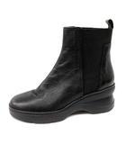 ジェオックス GEOX ブーツ ショート レザー ウェッジソール 38 24cm 黒 ブラック /SR
