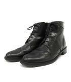 オデットエオディール Odette e Odile アローズ ブーツ ショート ローヒール ウイングチップ レースアップ レザー 23.5cm 黒 ブラック 日本製 /YO5