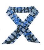 エルメス HERMES 式典用馬勒 BRIDES DE GALA シルクツイリー スカーフ 総柄 シルク ロゴ 水色 青 ブルー /SR■OH