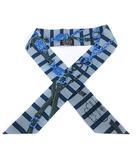 エルメス HERMES 式典用馬勒 BRIDES DE GALA シルクツイリースカーフ ロゴ 総柄 水色 青 ブルー /SR1 ■OH