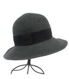 エルメス HERMES 帽子 ペーパーハット 麦わら 56 チャコールグレー フランス製 /YO9 ■OH