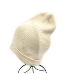 エルメス HERMES マルジェラ期 ニット帽 ラメ カシミヤ ロゴ 帽子 イタリア製 白 ホワイト /AN6 ■OH