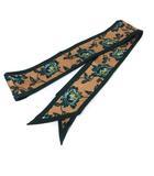 スカーフ シルク 花柄 茶色 ブラウン 緑色 グリーン イタリア製 /YO7 ■OH
