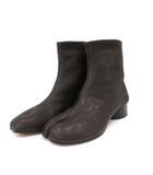 TABI 足袋 ブーツ ショート チャンキーヒール レザー 37.5 24.5cm ダークブラウン イタリア製 /YO16