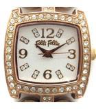 腕時計 クォーツ アナログ ラインストーン チェーン ハート ピンクゴールド色 WF5R120BSS /AN25