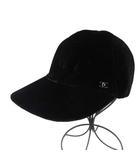 シャネル CHANEL 帽子 キャップ ココマーク ベロア M 黒 ブラック フランス製 /YO8 ■OH