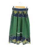 ネネット Ne-net スカート フレア ギャザー ロング 総柄 1 紺 緑 /AA ■OSW