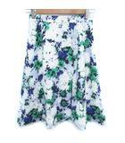 インディヴィ INDIVI スカート フレア ミモレ丈 花柄 マルチカラー 白 青 ホワイト ブルー /FF27