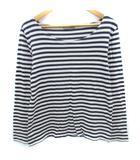 マーガレットハウエル MARGARET HOWELL Tシャツ カットソー 長袖 ラウンドネック 透け感 ボーダー柄 2 ベージュ 紺 ネイビー /FF36
