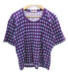 マルニ MARNI Tシャツ カットソー 五分袖 Uネック 総柄 マルチカラー 38 紫 ミントグリーン パープル /FF46