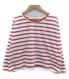 Tシャツ カットソー 長袖 ラウンドネック ボーダー柄 1 白 ホワイト 赤 レッド /SM43