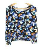 カットソー Tシャツ 長袖 ドルマンスリーブ ラウンドネック 花柄 マルチカラー S 黒 青 ブラック ブルー /FF36