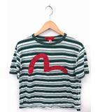 エヴィス EVISU YAMANE Tシャツ カットソー カモメ ボーダー 丸首 半袖 38 グリーン 緑 /FT27