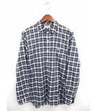 マーガレットハウエル MARGARET HOWELL シャツ 長袖 チェック ステンカラー ポケット 綿 コットン M 紺 ネイビー /ST18