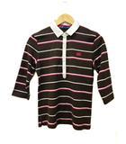 カンタベリー CANTERBURY シャツ ポロ ボーダー柄 七分袖 XL 茶 ブラウン ピンク