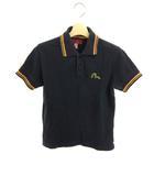 エヴィス EVISU ヤマネ YAMANE シャツ ポロシャツ ロゴ 刺繍 半袖 34 黒 ブラック オレンジ