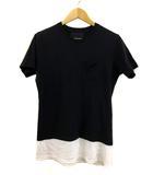 ナンバーナイン NUMBER (N)INE DENIM Tシャツ クルーネック レイヤード バイカラー 半袖 S 黒 白 ブラック ホワイト