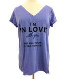 ダブルスタンダードクロージング ダブスタ DOUBLE STANDARD CLOTHING Tシャツ カットソー Vネック 半袖 F 水色 ライトブルー